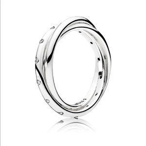 Pandora Silver Cz Swirling Symmetry Ring NWOT